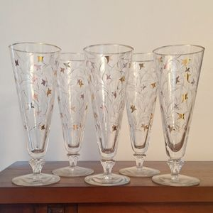 Vintage set of 5 fluted cocktail glasses